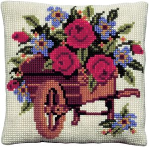 Cross stitch cushion wheelbarrow with flowers