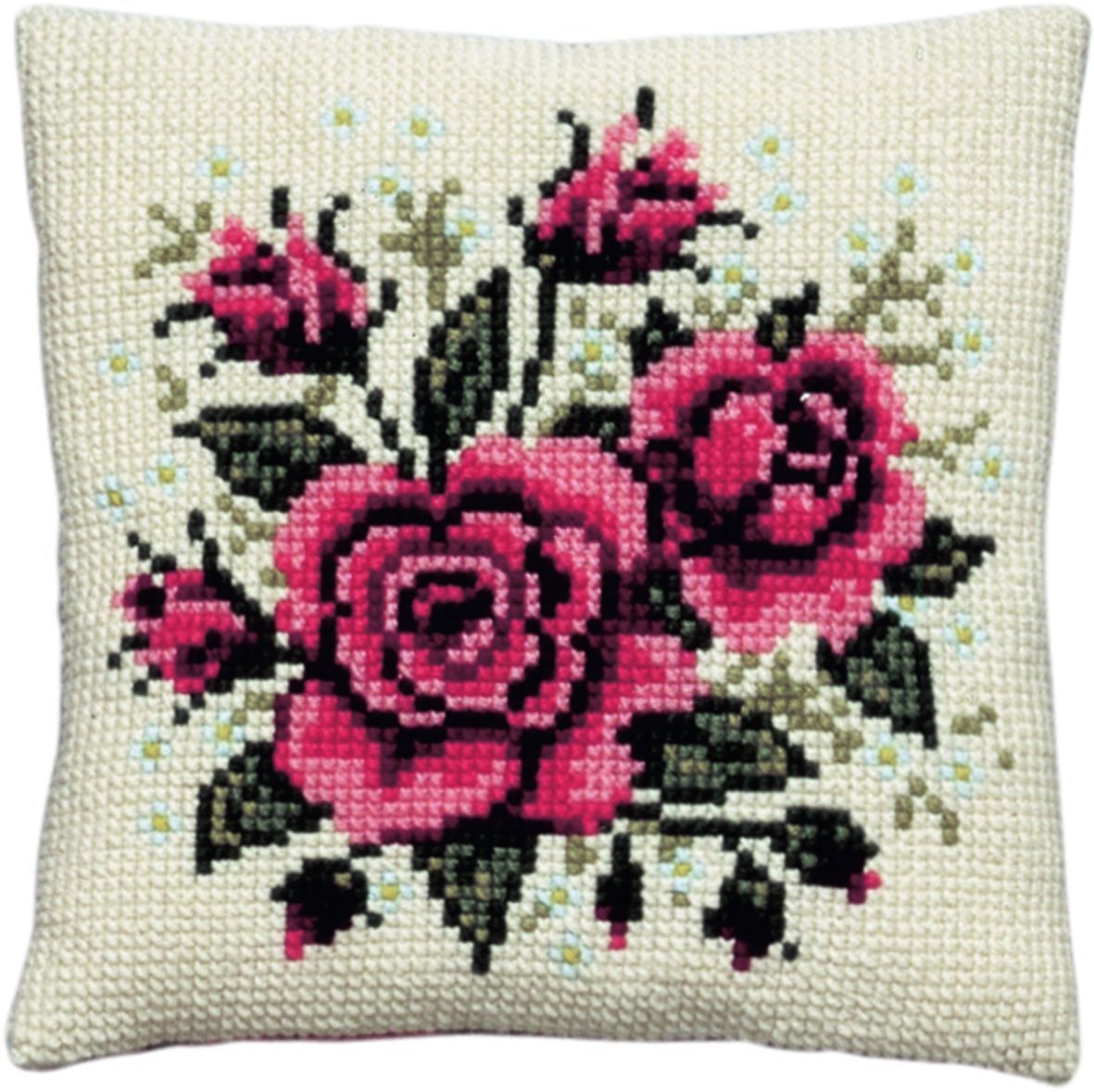 cross stitch cushionred roses printed