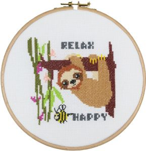 Cross-stitch kit sloth