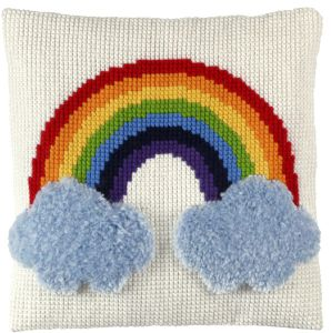 cross stitch & latch cushion rainbow, printed
