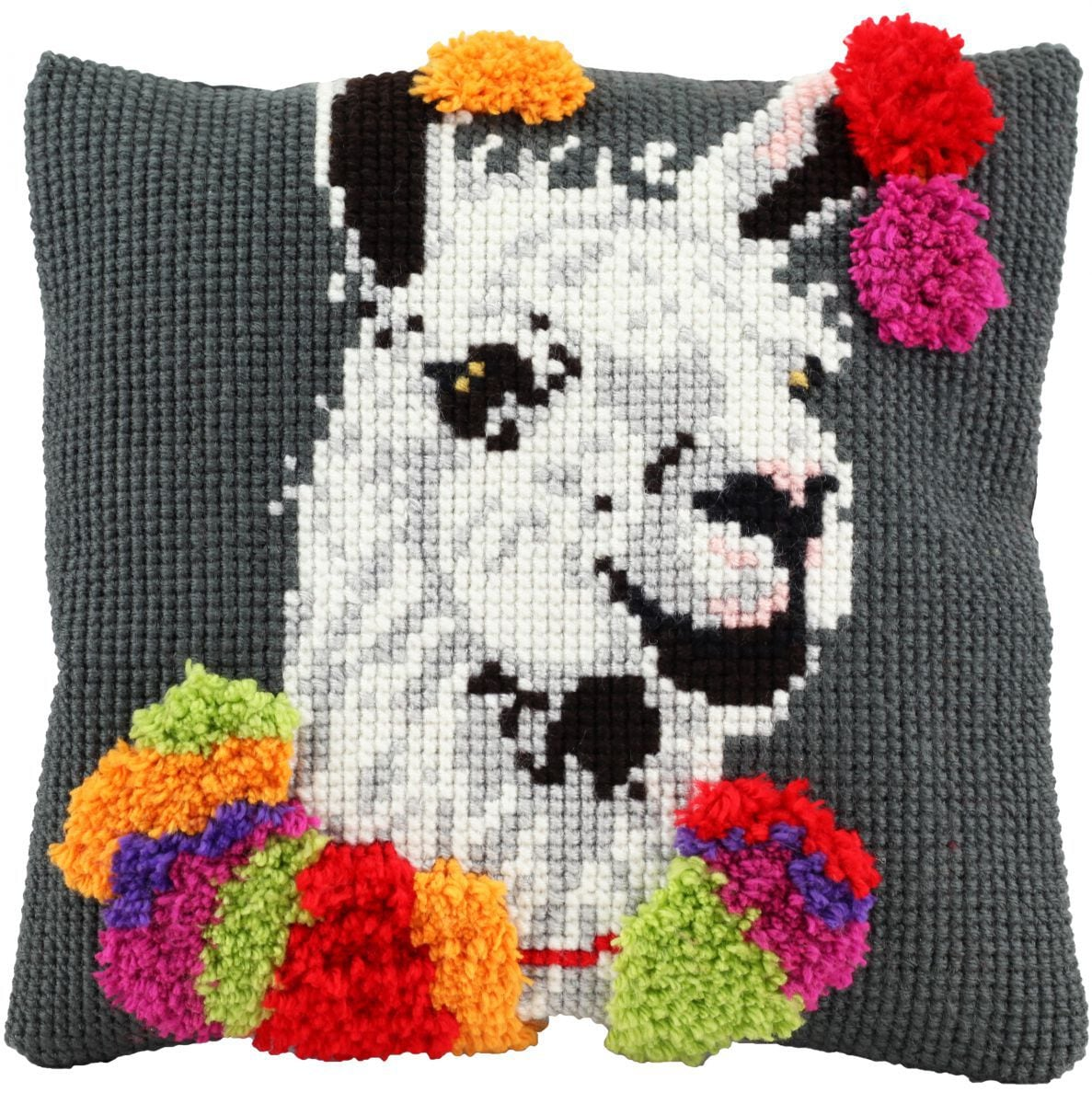 cross stitch latch hook cushion funny lama printed