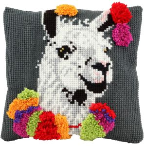 Cross stitch & latch hook cushion funny lama, printed