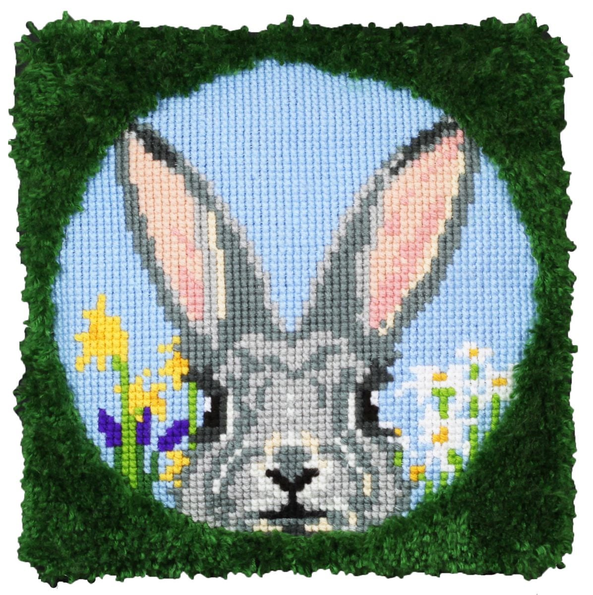 cross stitch latch hook cushion happy bunny