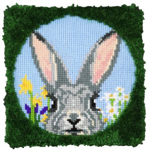 cross stitch & latch hook cushion happy bunny