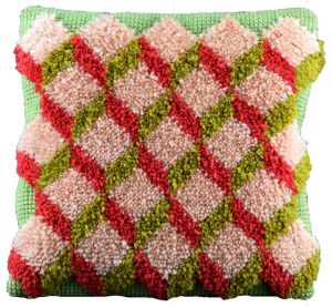 cross stitch & latch hook cushion , printed