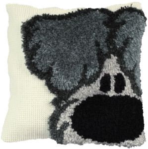 Cross stitch & latch hook cushion Woezel, Woezel&Pip printed