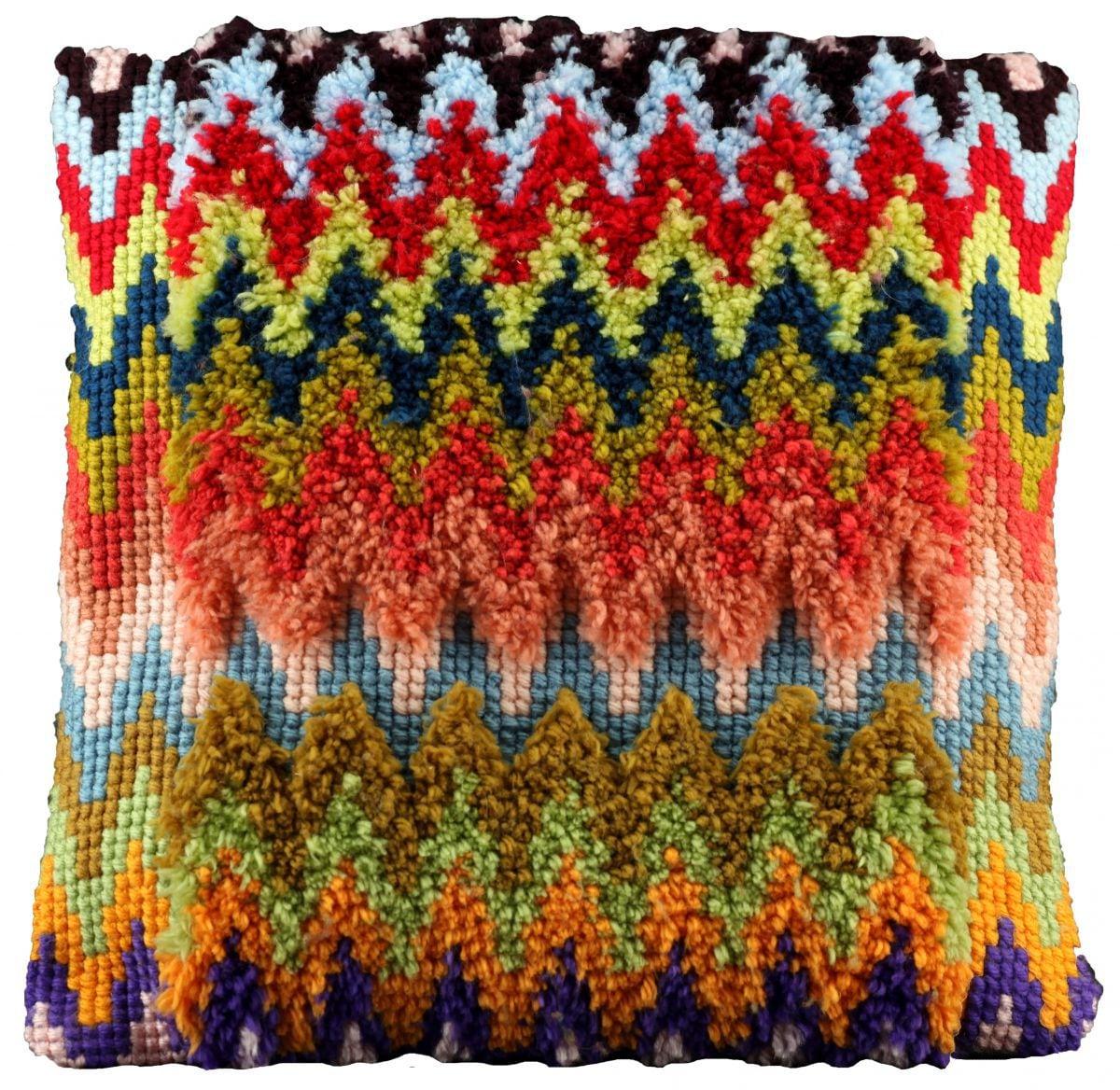 cross stitch latch hook cushion zigzag printed