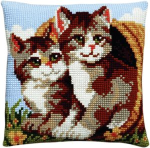 Cross stitch two kittens in a wicker basket, printed