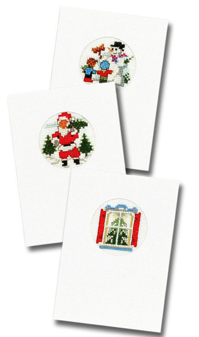embrodery kit three christmas cards with card envelops