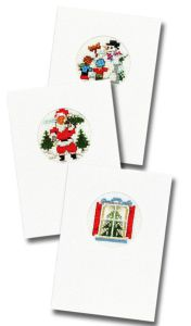 Embrodery kit three Christmas cards with card & envelops