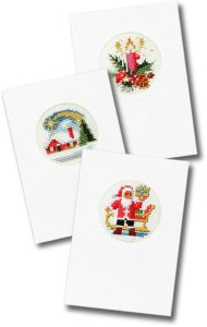 Embroidery kit 3 Christmas cards with cards & envelopes