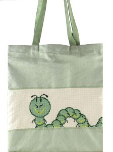 Embroidery kit bag featuring funny caterpillar