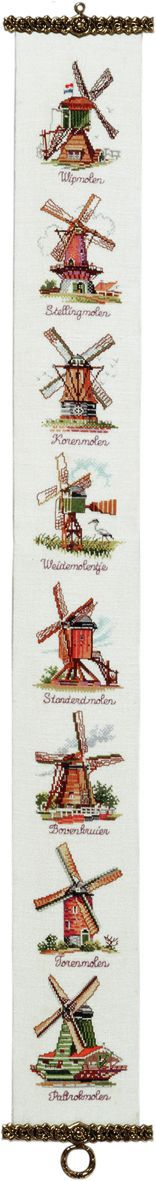 embroidery kit bell pull dutch windmills