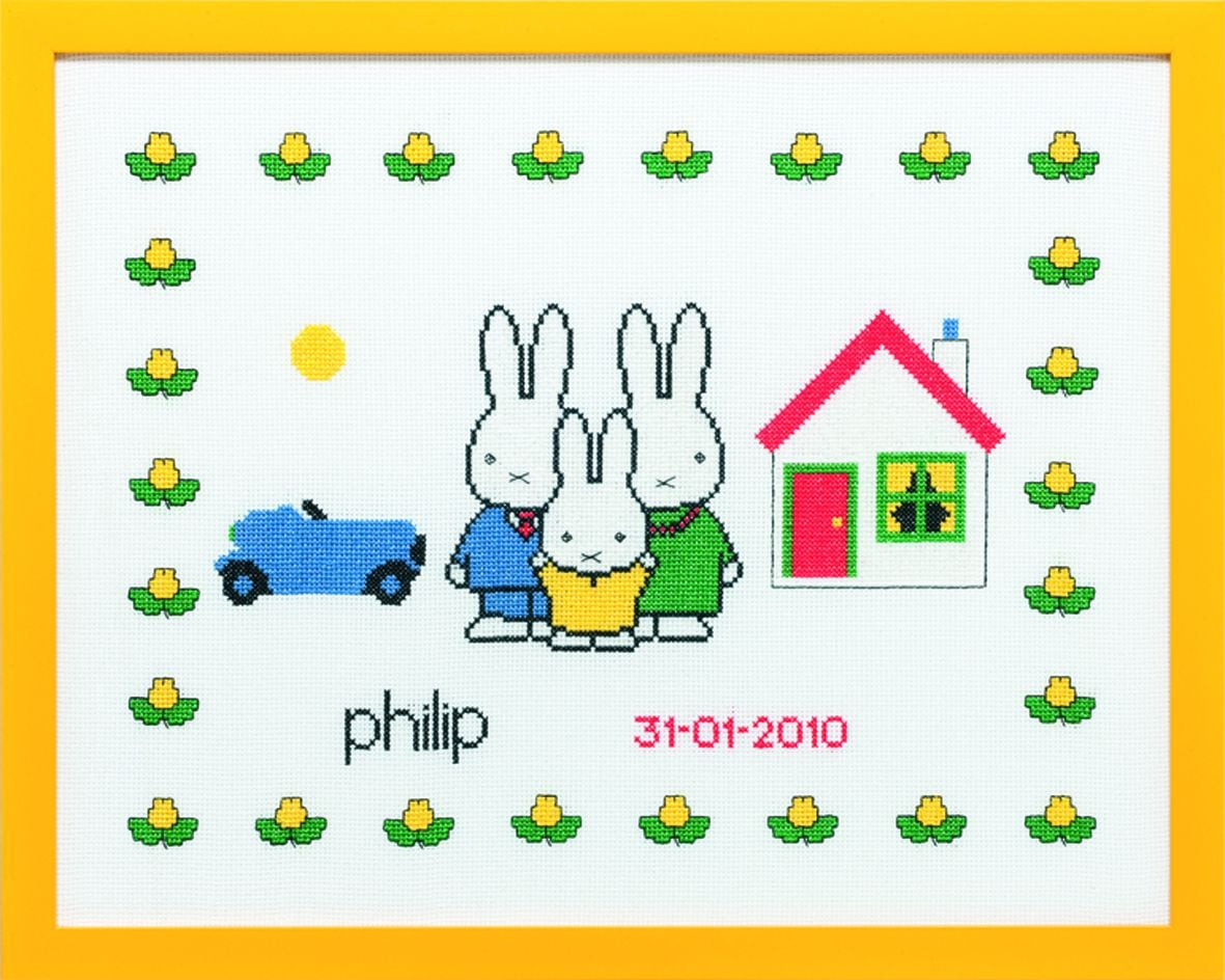 embroidery kit birthday sample miffy with family dick bruna