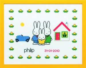 Embroidery kit birthday sample Miffy with family, Dick Bruna