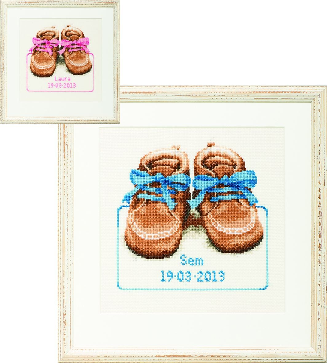embroidery kit birthday sampler baby boots