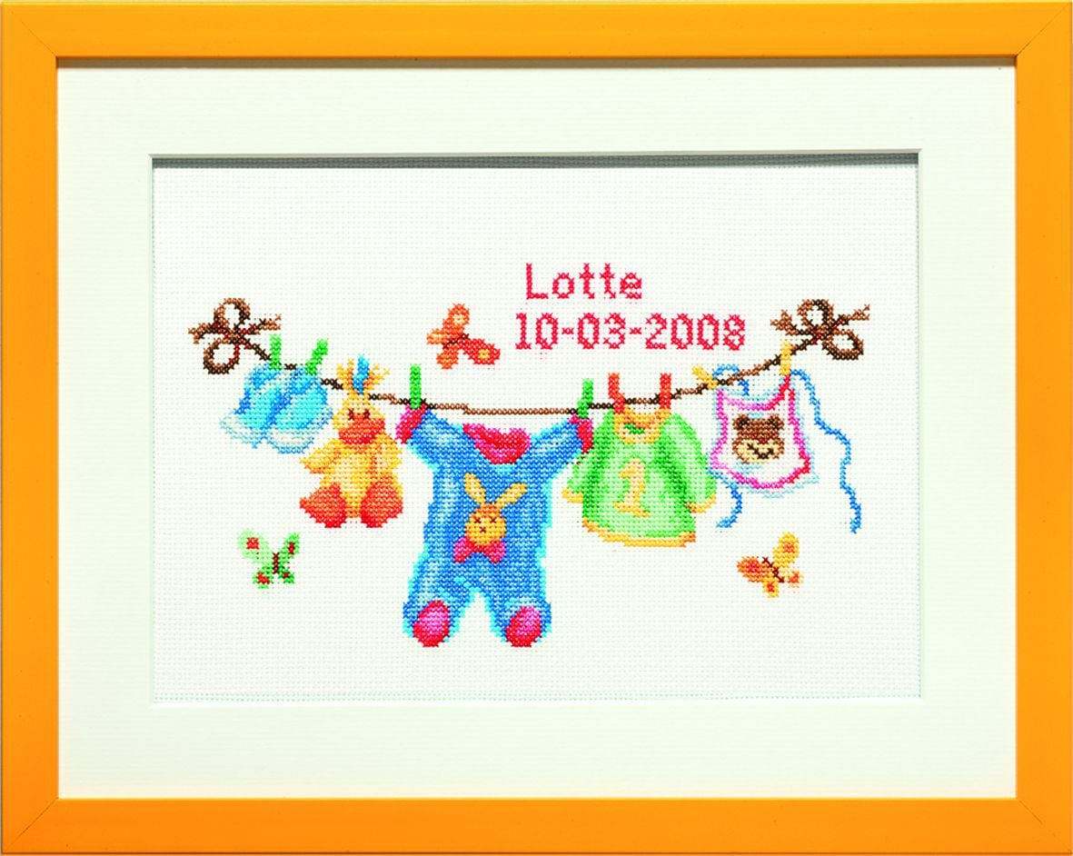 embroidery kit birthday sampler line full of baby clothes