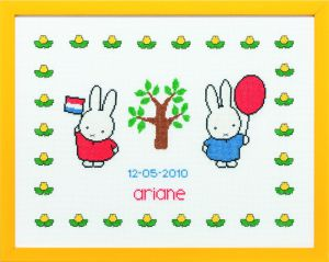 Embroidery kit birthday sampler Miffy celebrating,Dick Bruna