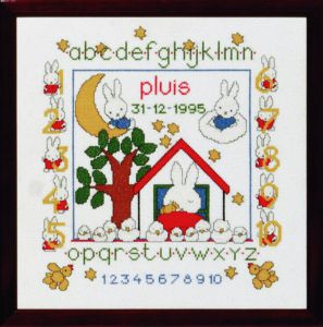 Embroidery kit birthday sampler Pluis, Dick Bruna.