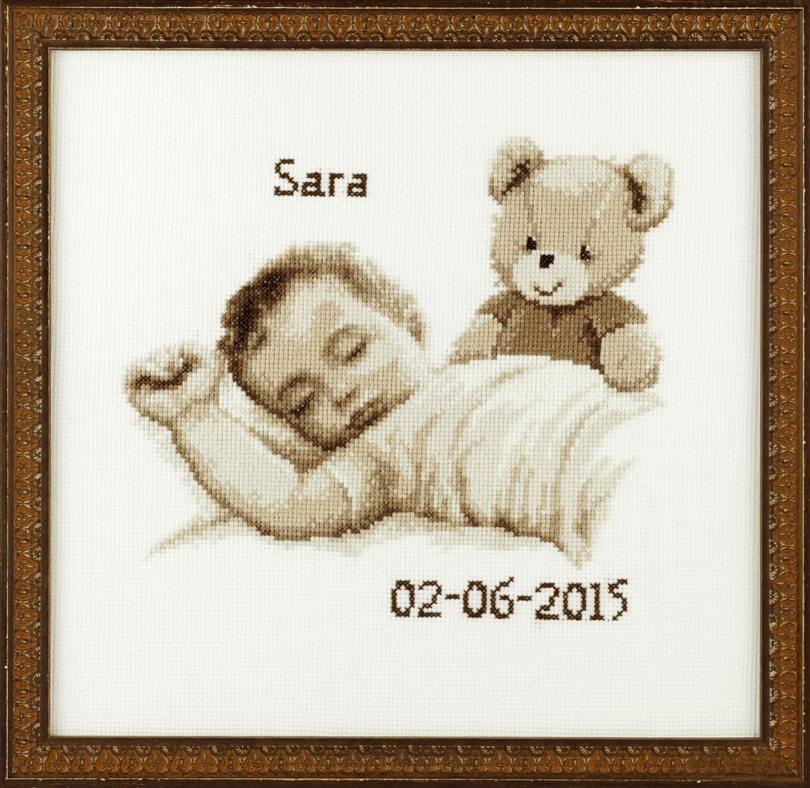 embroidery kit birthday sampler sepia baby with teddy