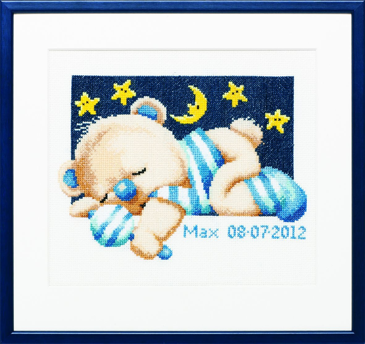 embroidery kit birthday sampler sleaping teddy boy