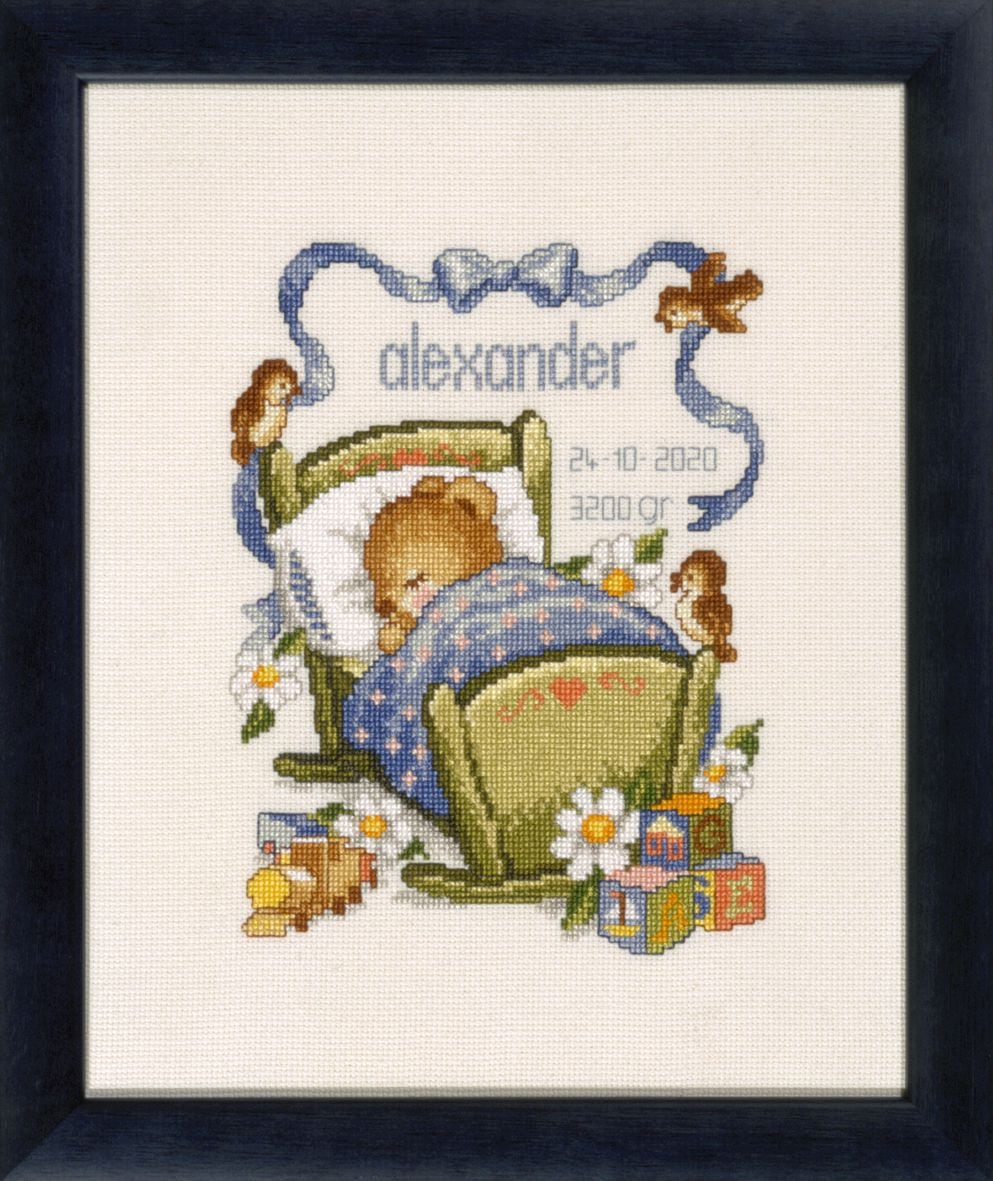 embroidery kit birthday sampler sleeping bear boy