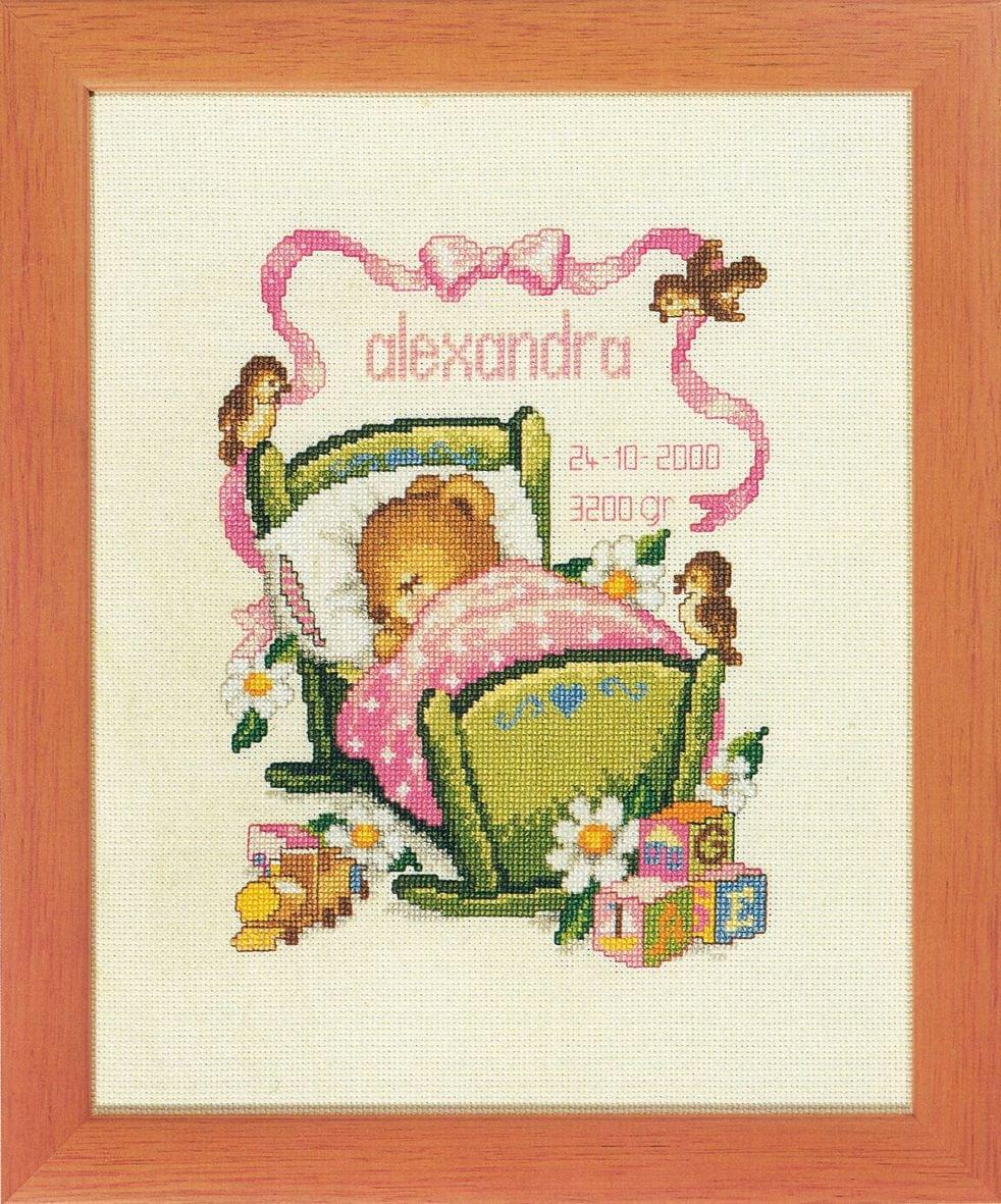 embroidery kit birthday sampler sleeping bear girl
