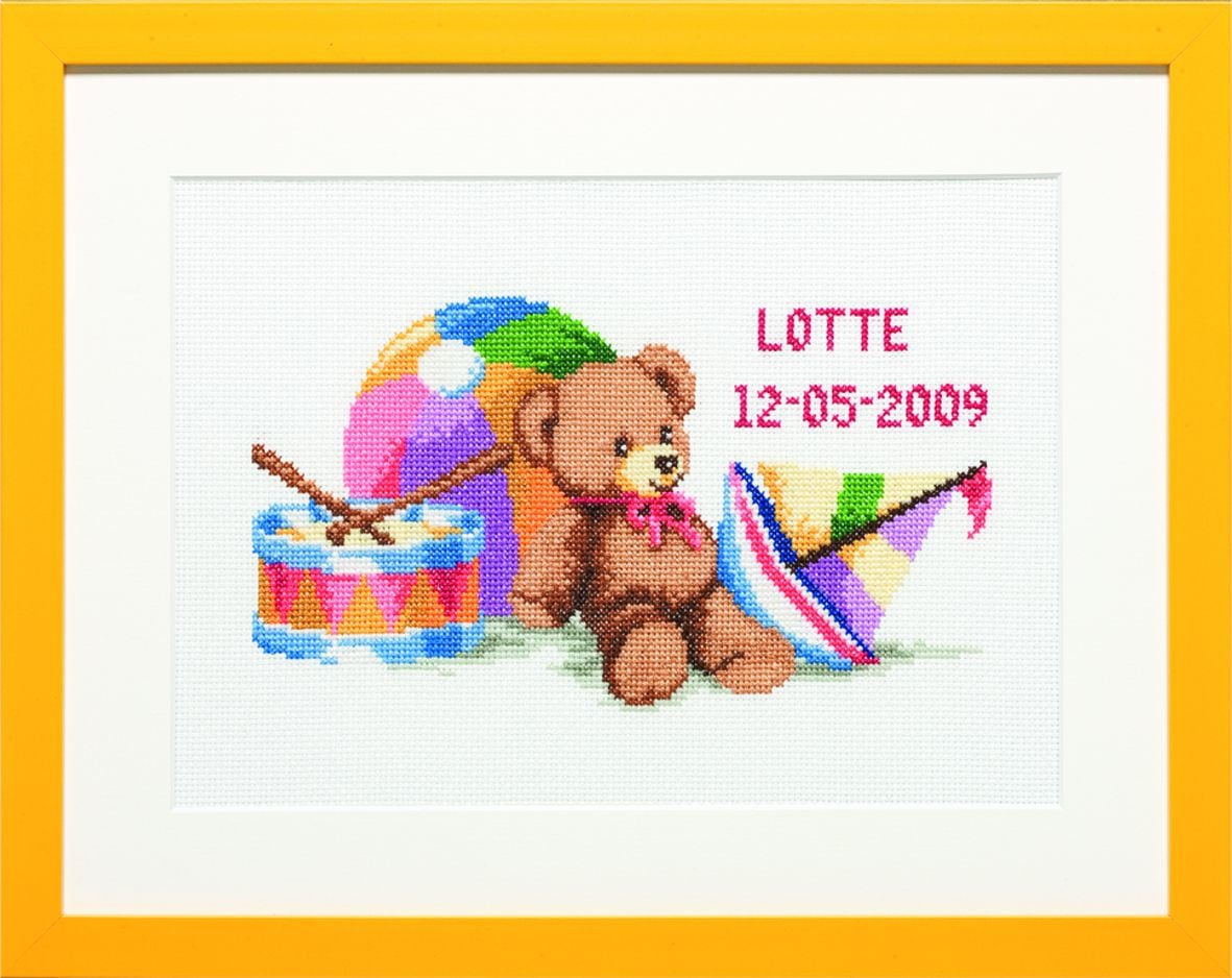 embroidery kit birthday sampler teddy playing with toys