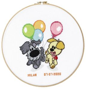 Embroidery kit birthday sampler Woezel & Pip with balloons.