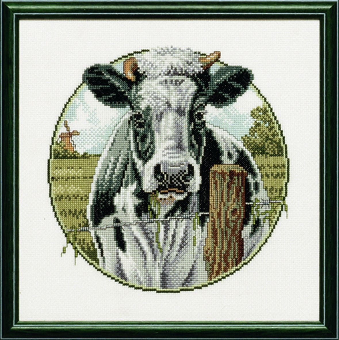 embroidery kit black and white cow
