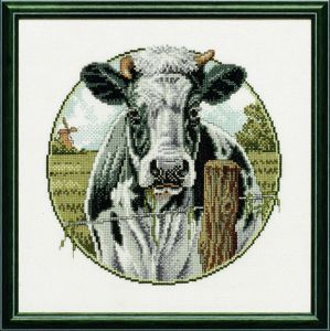 Embroidery kit black and white cow.