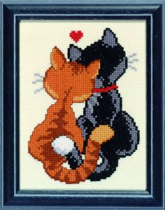 Embroidery kit cats in LOVE.