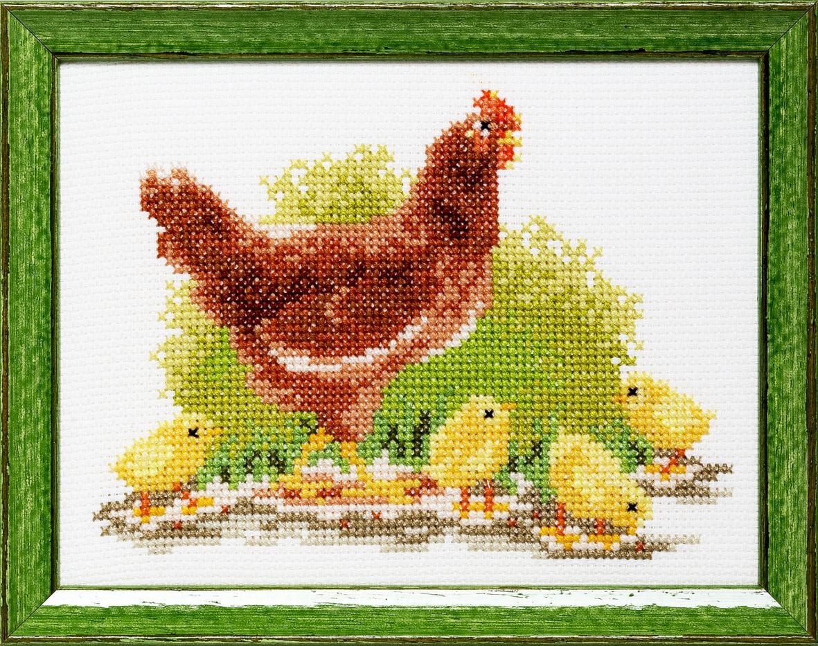 embroidery kit chicken and little chicks