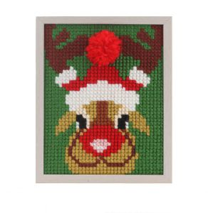 Embroidery kit christmas reindeer for children, painted