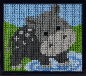 Embroidery kit cute hippo for children, printed.