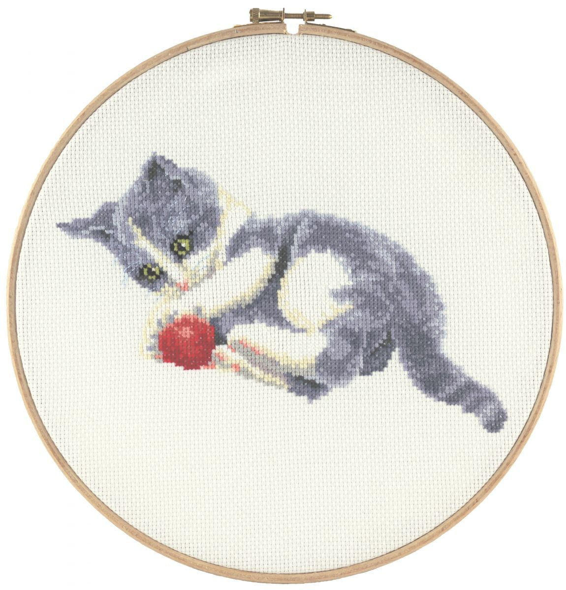 embroidery kit cute playing kitten and wool francien van westering