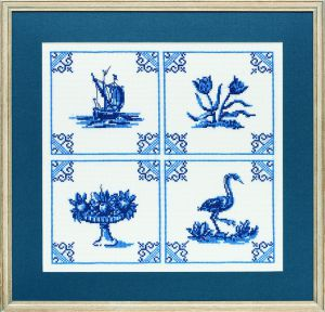 Embroidery kit Delft blue classic tiles