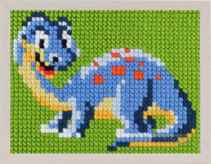 Embroidery kit dinosaur for children, painted