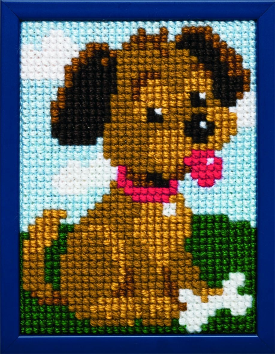embroidery kit doggy for children printed