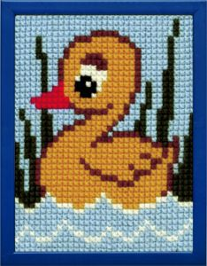Embroidery kit duckling for children, printed