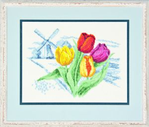 Embroidery kit Dutch windmill and tulips