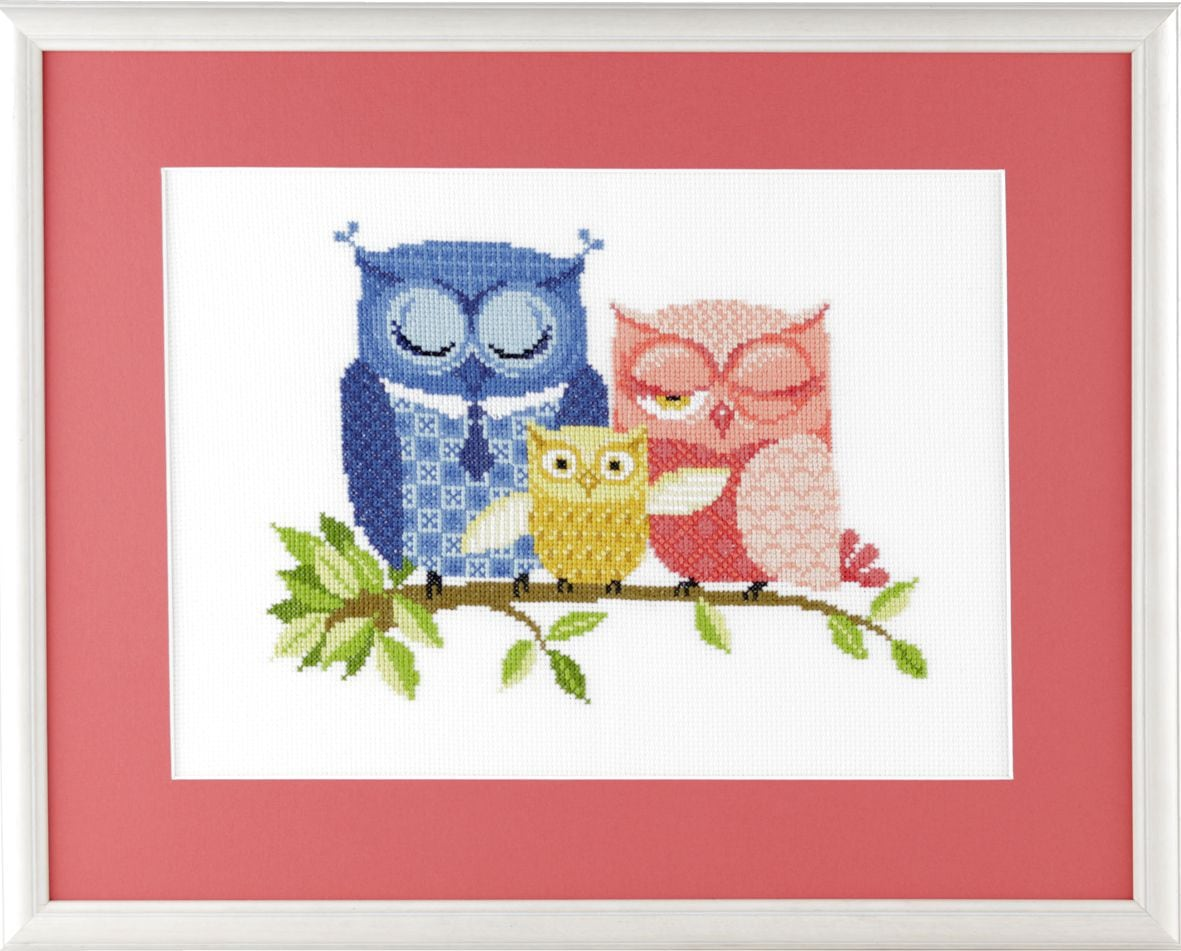 embroidery kit family owls