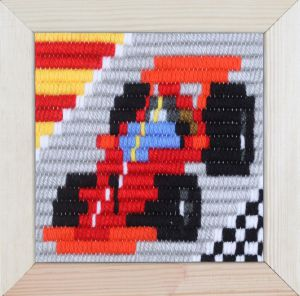Embroidery kit for children short flat stitch formula one racecar.