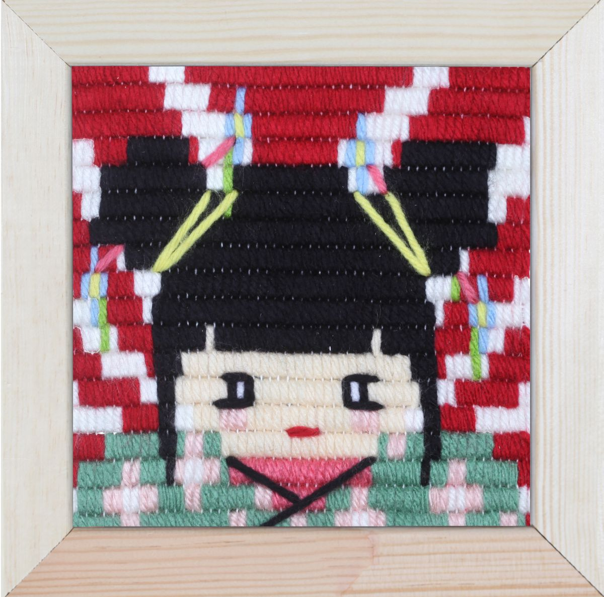 embroidery kit for children short flat stitch geisha