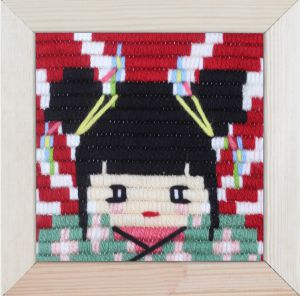 Embroidery kit for children short flat stitch geisha