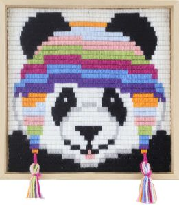 Embroidery kit for children short flat stitch panda.
