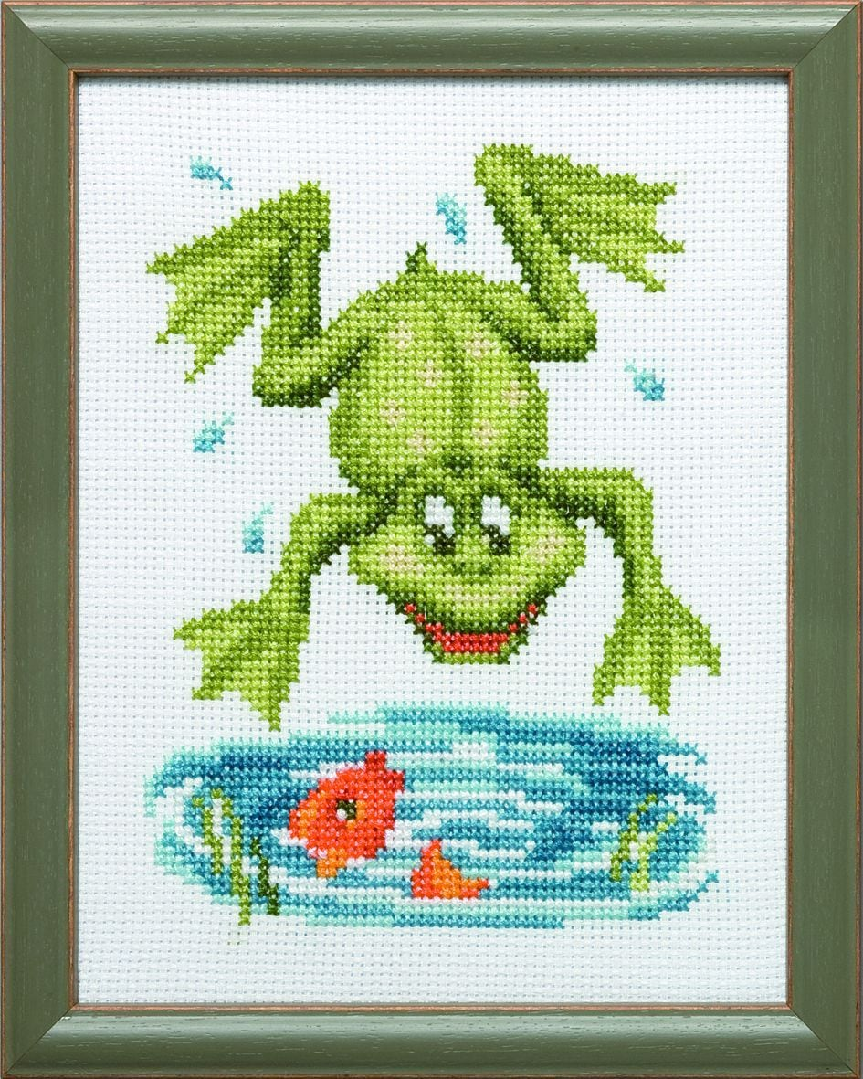 embroidery kit funny frog