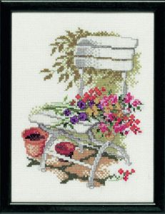 Embroidery kit garden chair with flowers