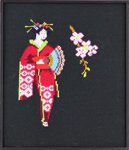 Embroidery kit Geisha on Almond blossom