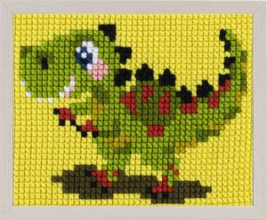 Embroidery kit green dinosaur for children, painted